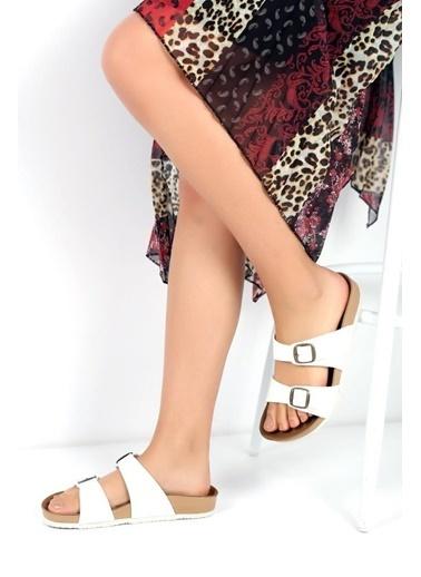 Pembe Potin A1252-19 Kadın Sandalet Beyaz